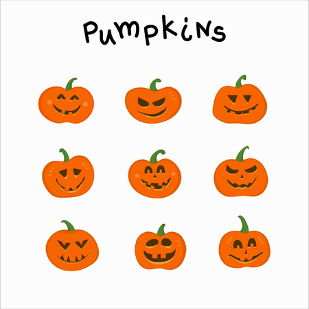 Collection of funny pumpkins with different emotions for Halloween. Suitable for invitations, postcards, textiles, stationery and other attributes of the holiday. 일러스트