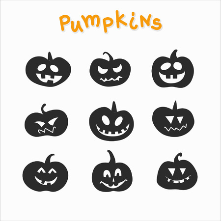 Collection of funny pumpkins with different emotions for Halloween. Great for printing products, textiles, interior. Monochrome performance. 일러스트