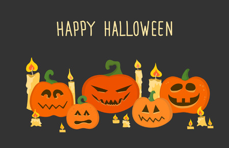Poster or postcard to Halloween with pumpkins and candles
