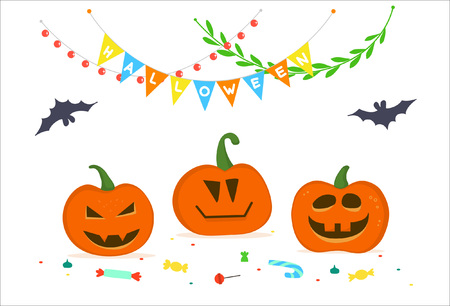 Postcard to the Halloween with happy pumpkins, festive garlands and sweets