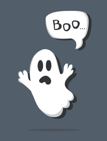 Greeting poster or card to Halloween with a terrifying cartoonish ghost and exclamation BOO.