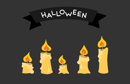 Greeting card or a Halloween invitation with a set of candles 일러스트