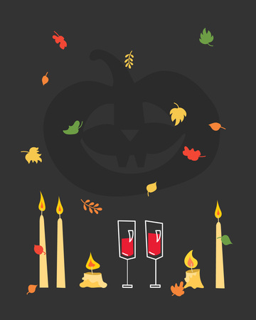 A romantic poster for a Halloween party with leaf drop, candles and glasses