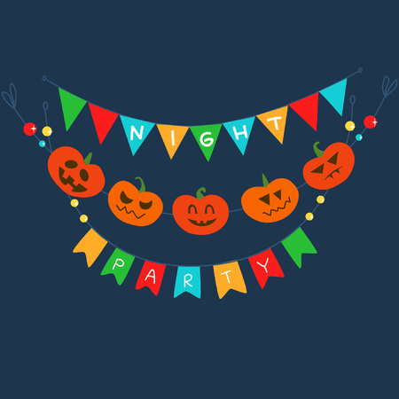 Invitation, poster or postcard to Halloween with flags and a garland of pumpkins with various emotions