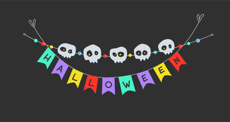 Invitation, poster or postcard to Halloween with a garland of skulls and flags
