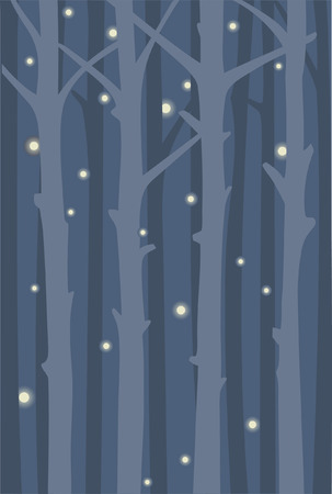 Night forest with flying fireflies. Background with tree trunks.