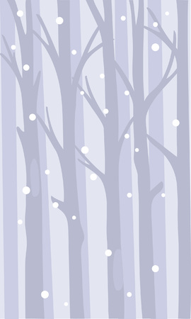 A quiet thicket of forest with snowflakes among the trunks. Vector background