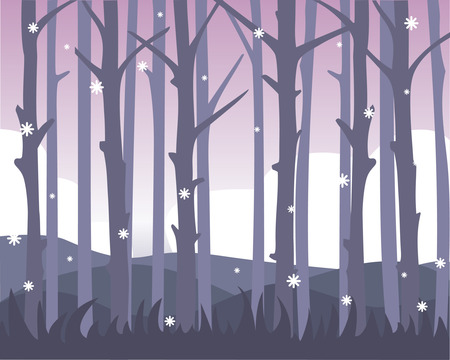 Quiet forest view with falling first snow. Monochrome design. Vector background