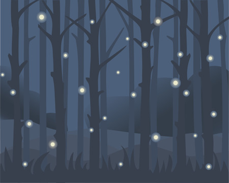 Backdrop with flying fireflies among the night forest. Vector illustrastion. Ilustrace
