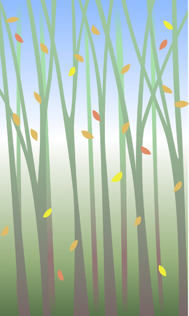 Lyrical backdrop with swirling leaves among the trees.