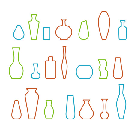 Collection of various kinds of vases. Vector illustration. Linear style