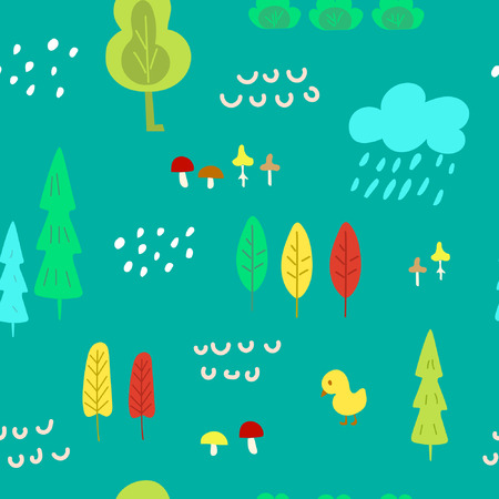 Cute children's seamless pattern with forest theme. Cool bright ornament is great for prints, textiles, covers, gift wrappers, backdrops. Vector illustration. Reklamní fotografie - 117896485