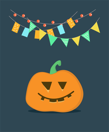 Greeting picture for Halloween with a satisfied pumpkin and festive garland above it.