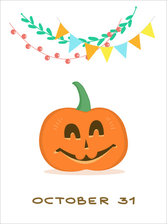 Greeting picture for Halloween with a happy pumpkin and festive garland above it. 일러스트
