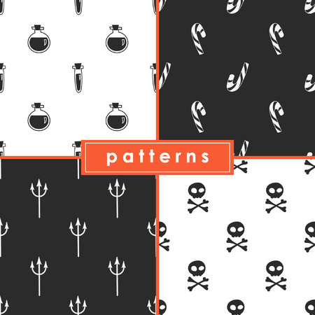 A collection of seamless monochrome patterns for the celebration of Halloween. 일러스트