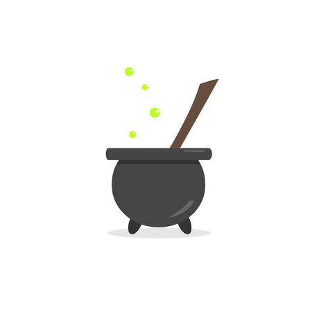 Image of a witchy cauldron with potions. Vector illustration
