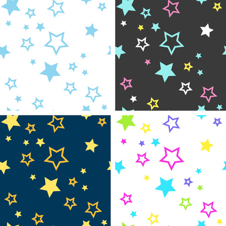 Collection of bright seamless patterns with stars. The starfall is perfect for the design of children's products and for lovers of the Milky Way.