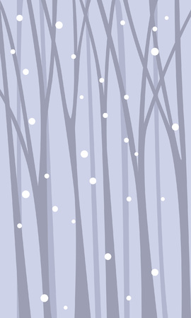 Fairy background with a snowfall among the trunk of trees.