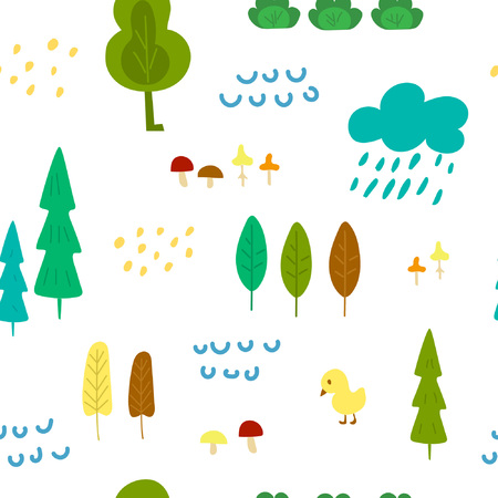Cute childrens seamless pattern with forest theme. Cool bright ornament is great for prints, textiles, covers, gift wrappers, backdrops. Vector illustration. Ilustrace