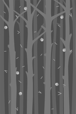 Background with tree trunks and falling fir cones and needles. A hovel forest. Monochrome design