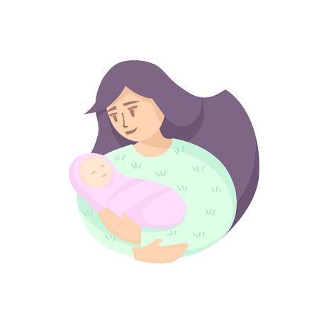 Mother holds the newborn in her arms. Feeling of happiness. Motherhood. Minimalistic cartoon style