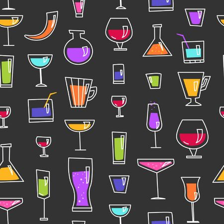 Seamless pattern with alcohol. Glasses with strong drink.  Dark background 일러스트