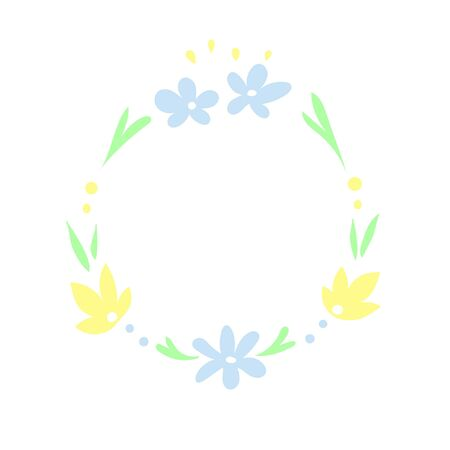 Romantic hand-painted wreath of flowers and plants. Lettering frame, design element. 일러스트