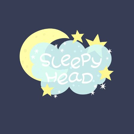 Illustration with hand draw lettering. Sleepy head on a transparent cloud surrounded by the moon and stars. Dark background 일러스트