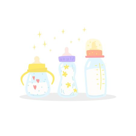 Cute nipple bottle for feeding. Milk, water or baby formula. Cartoon style 일러스트