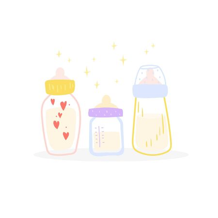 Three bottles for feeding a baby. Cartoon style