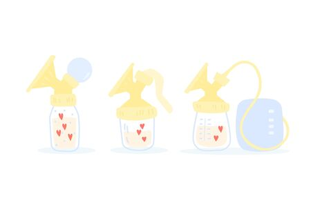 Collection of breast pumps. Manual and electric milk pumps. Cute cartoon vector illustration