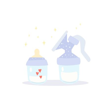 Manual breast pump and pacifier bottle. They are full of milk and love. Cute cartoon vector