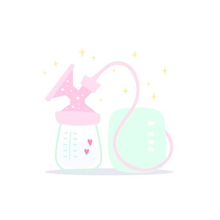 Electric breast pump in pink. Polka dot pattern. Milk with love from mom. Cute cartoon vector illustration 일러스트