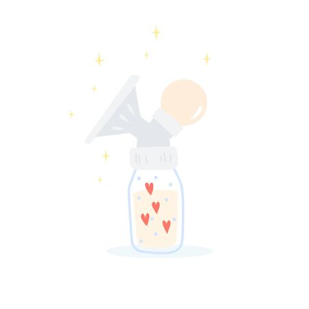 Manual breast pump with pipette bulb.  The bottle has a polka dot pattern. Milk with love from mom. Cute cartoon vector