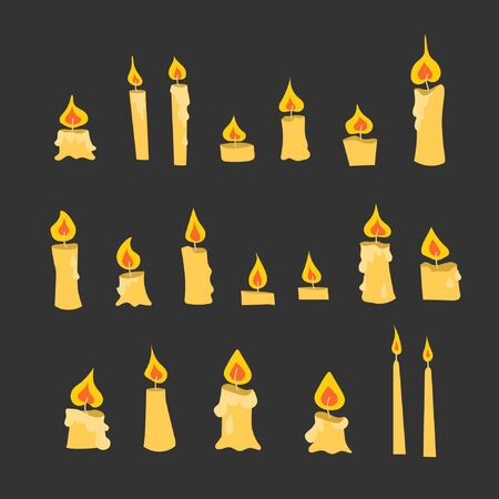 Luminous candles. Different shapes of candles. Cartoon style