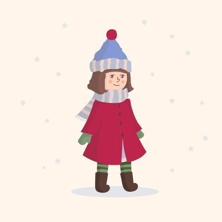 A lovely girl dressed in fall clothes. Winter style clothing. A big hat and a scarf are on a cute girl.