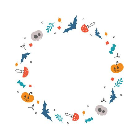 Round wreath for Halloween. Attributes of the holiday. Skulls, pumpkins, sweets, plants, mushrooms. Children's style 일러스트