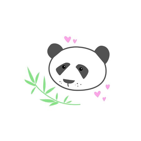 A panda bear with a bamboo branch and hearts