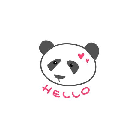 A cute kind panda bear. Cartoon style. Hand draw lettering hello 일러스트