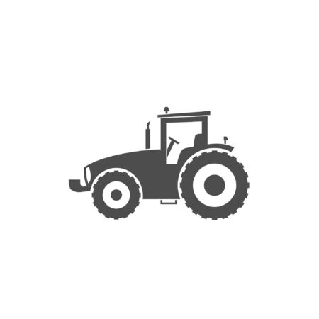 Wheel tractor icon. Heavy machinery. Black logo on a white background. Vector  illustration