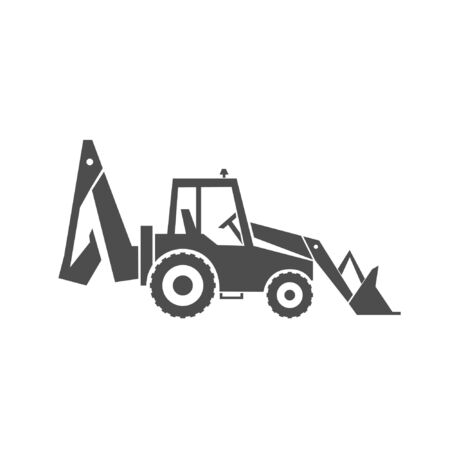 Backhoe loader icon. Heavy machinery. Image for industrial or construction industry. Vector  illustration 일러스트