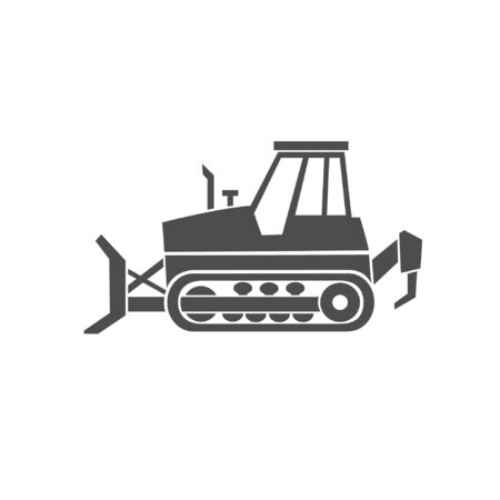 A bulldozer black icon. A heavy machinery for a construction  and industrial work.