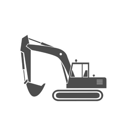 An excavator monochrome icon. A heavy equipment.  A bucket digger for a construction  and industrial work. 일러스트
