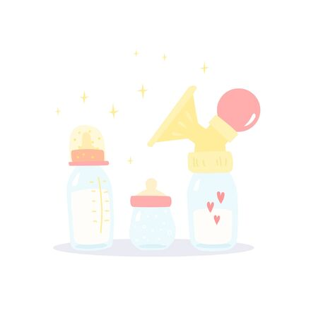 Milk express collection. Manual breast pump with pipette bulb.  Two pacifier bottles for milk. Cute cartoon style 일러스트