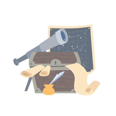 An old chest filled with papers and parchment. A telescope and a map of stars are in the background. Box of a scientist astronomer from the past