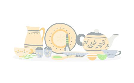 Ceramic dishes with a simple hand-made pattern: trowels, bowls, mugs, jugs, teapot 일러스트