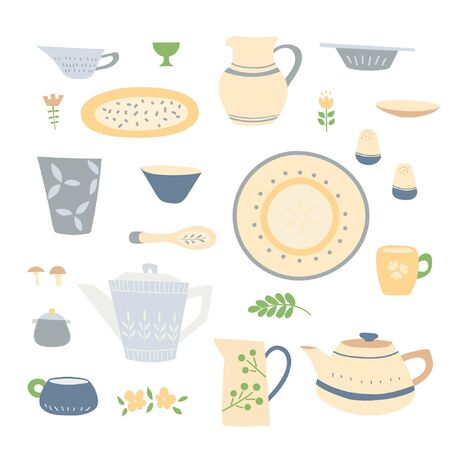 Handmade home cookware set:  plates, cups, jugs, teapots. Beige blue tones, simple handmade patterns