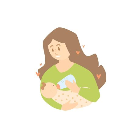 Mom feeds her newborn baby with a baby formula or milk from a bottle with a pacifier. Woman with a baby in her arms. Motherhood