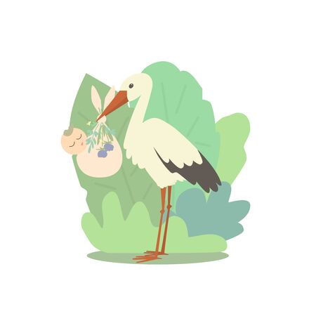 A stork is holding a sleeping baby. A diaper with a baby decorated with plants and flowers. Plants are in the background