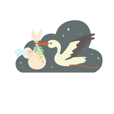 A stork with a baby in the night sky. The child is wrapped in a nappy decorated with flowers and plants. Newborn dressed in a hat with bunny ears 일러스트